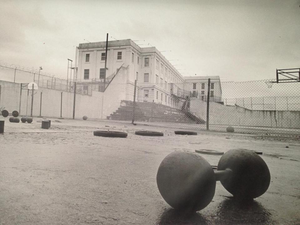 "Basketball goals were added to the recreation yard in 1961, though they were torn down for filming of 1979's ""Escape from Alcatraz."""